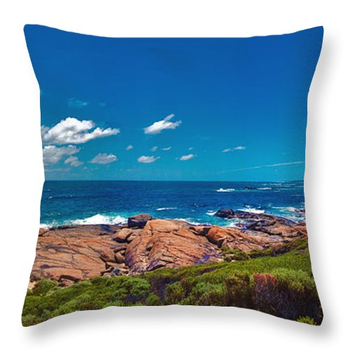 Busselton Jetty; Western Australia; Beach Panorama; Margaret River; Southern Hemisphere; Waterfront; Throw Pillow featuring the photograph Western Australia Beach Panorama Margaret River by David Zanzinger