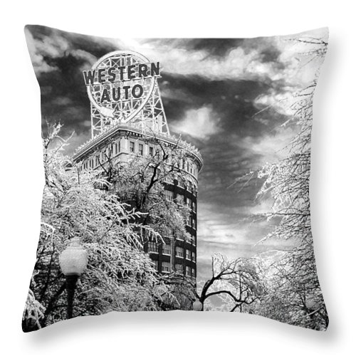 Western Auto Kansas City Throw Pillow featuring the photograph Western Auto In Winter by Steve Karol