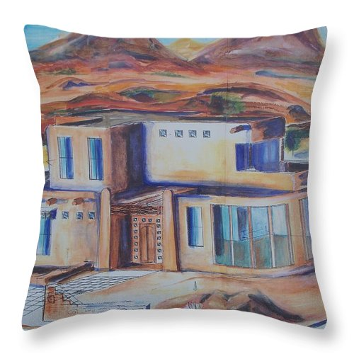 Floral Throw Pillow featuring the painting Western Home Illustration by Eric Schiabor