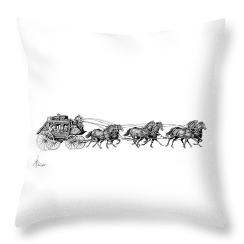 Pencil Throw Pillow featuring the drawing Western Stagecoach by Murphy Elliott