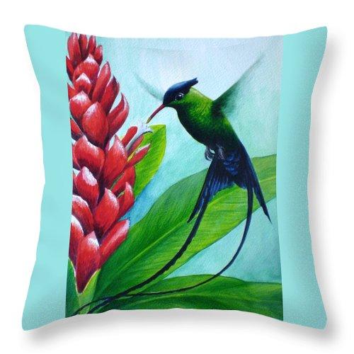 Western Streamertail Hummingbird Throw Pillow featuring the painting Western Streamertail Hummingbird by Christopher Cox