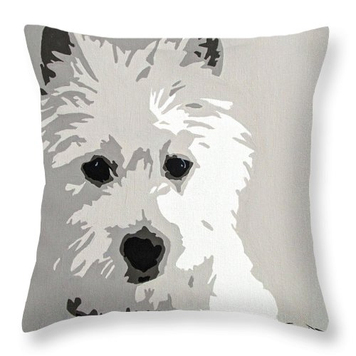 Westie Throw Pillow featuring the painting Westie by Slade Roberts