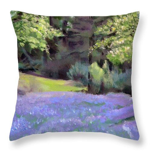 Camas Throw Pillow featuring the painting Westley's Meadow by Mary Chant
