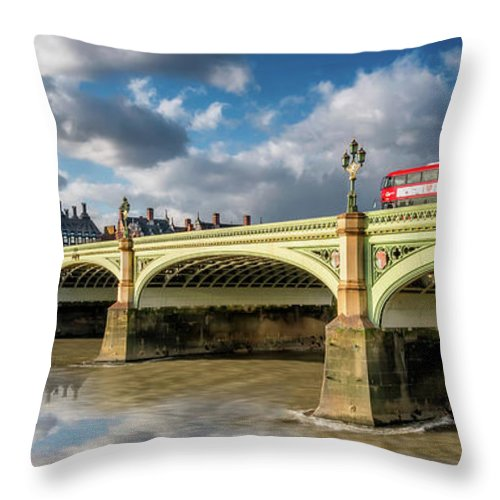 Cityscape Throw Pillow featuring the photograph Westminster Bridge by Adrian Evans