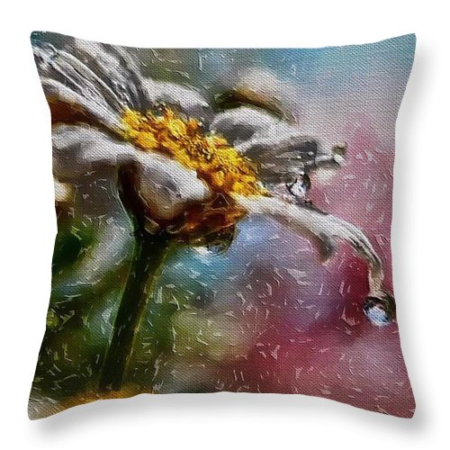 A Flower On Canvas Throw Pillow featuring the digital art Wet Flower by Donald Chandonnet