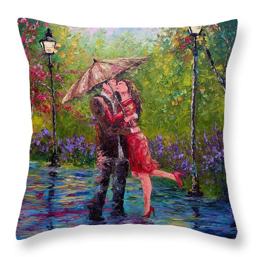 Kiss Throw Pillow featuring the painting Wet Kiss by David G Paul