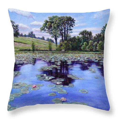 Landscape Throw Pillow featuring the painting Wet Land - Shaw Nature Reserve by John Lautermilch
