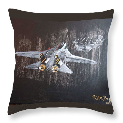 F 14 Throw Pillow featuring the painting Wet Night Landing by Richard Le Page
