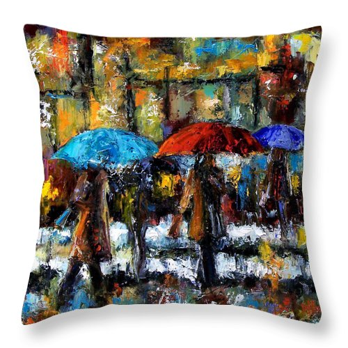 Rainy City Art Throw Pillow featuring the painting Wet Winter Day by Debra Hurd
