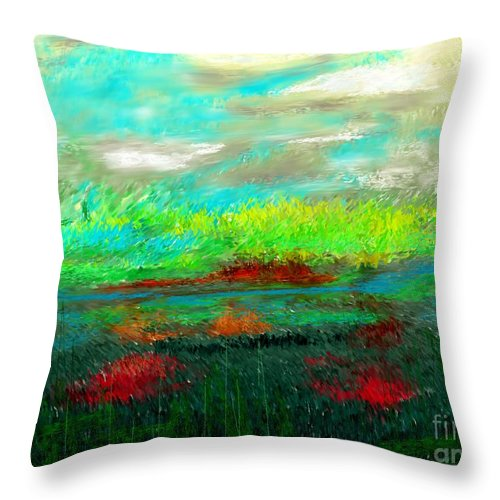 Nature Throw Pillow featuring the digital art Wetlands by David Lane
