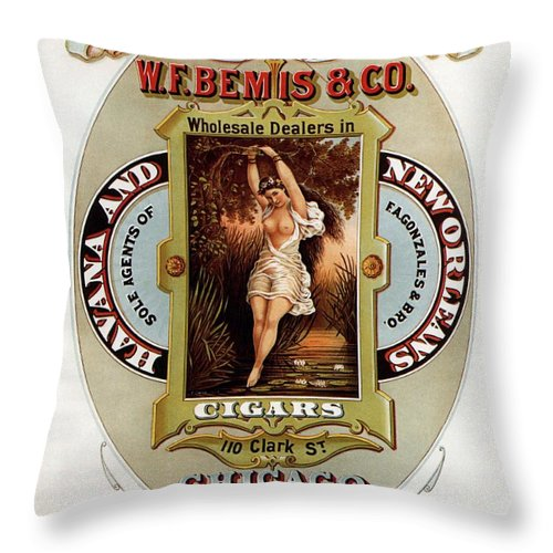 Vintage Throw Pillow featuring the mixed media W.f.bemis And Co - Tivoli Garden Cigar Store - Vintage Advertising Poster by Studio Grafiikka