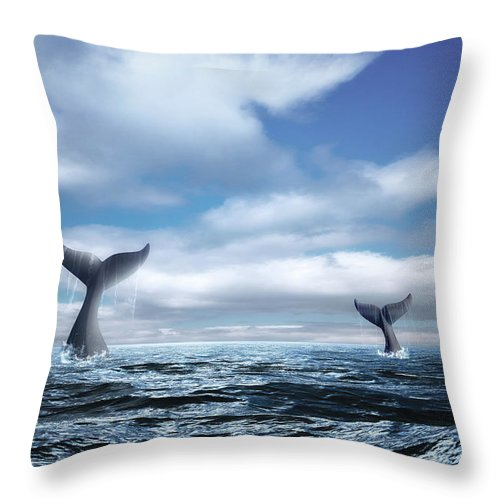 Whale Throw Pillow featuring the photograph Whale Of A Tail by Tom Mc Nemar