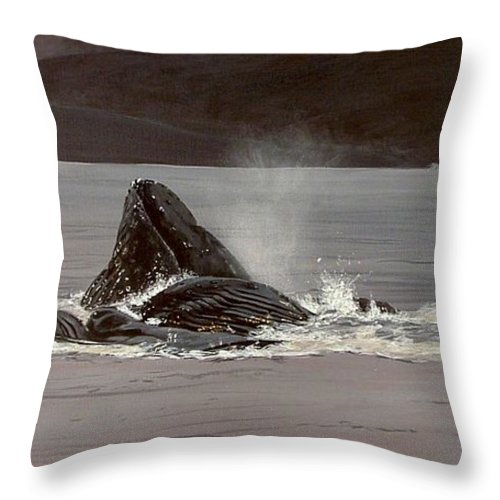 Whale Throw Pillow featuring the painting Whales Feeding by Shawn Stallings