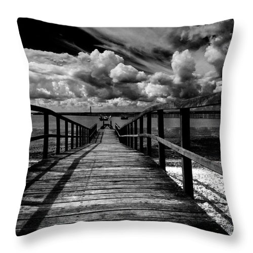Southend On Sea Wharf Clouds Beach Sand Throw Pillow featuring the photograph Wharf At Southend On Sea by Sheila Smart Fine Art Photography