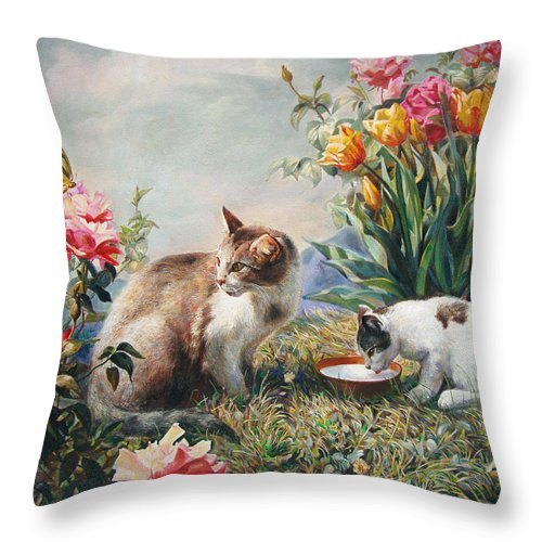 Milk Throw Pillow featuring the painting What A Girl Kitten Wants by Svitozar Nenyuk