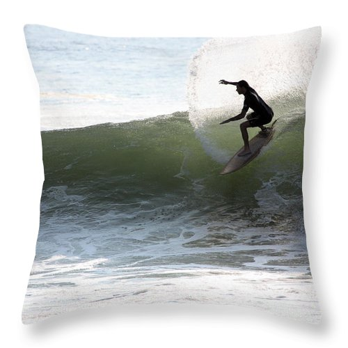 Surfer Throw Pillow featuring the photograph What A Ride by Mary Haber