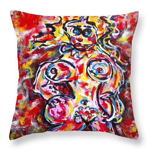 Abstracts Throw Pillow featuring the painting What Are You Looking At by Natalie Holland