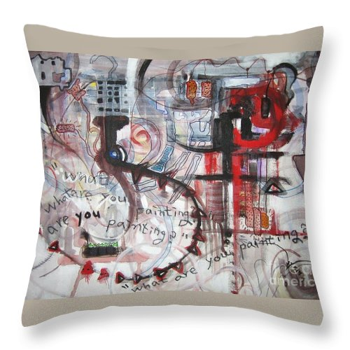 Abstract Paintings Throw Pillow featuring the painting What Are You Painting-red And Brown Painting by Seon-Jeong Kim
