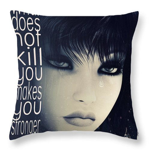 Fine Throw Pillow featuring the digital art What Does Not Kill You by Jutta Maria Pusl
