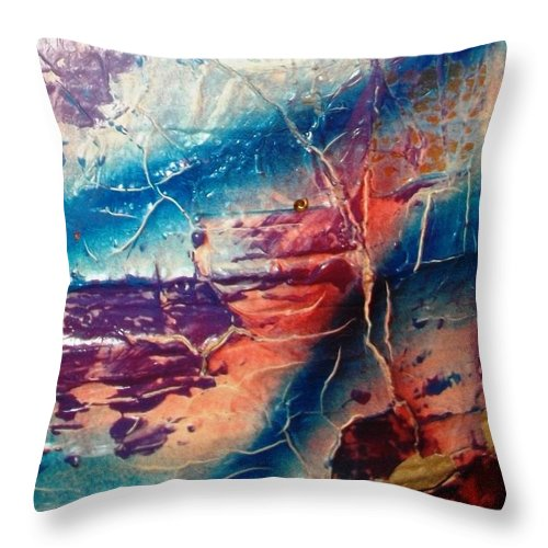 Abstract Throw Pillow featuring the painting What Have We Done To The Sea by Bruce Combs - REACH BEYOND