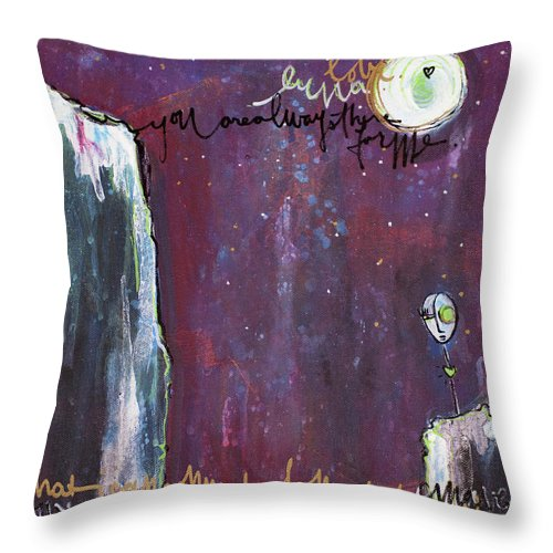 Moon Throw Pillow featuring the painting What I Connect To Most Of All by Laurie Maves ART