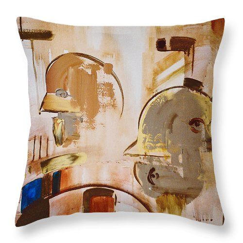 Abstract Throw Pillow featuring the painting What Is Identity by Stephen Lucas