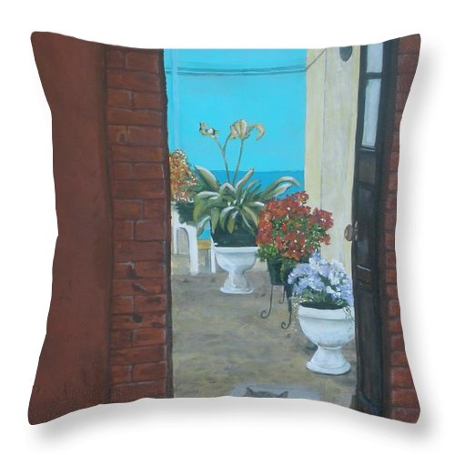 Doorway Throw Pillow featuring the painting What Is Inside... by Betty-Anne McDonald