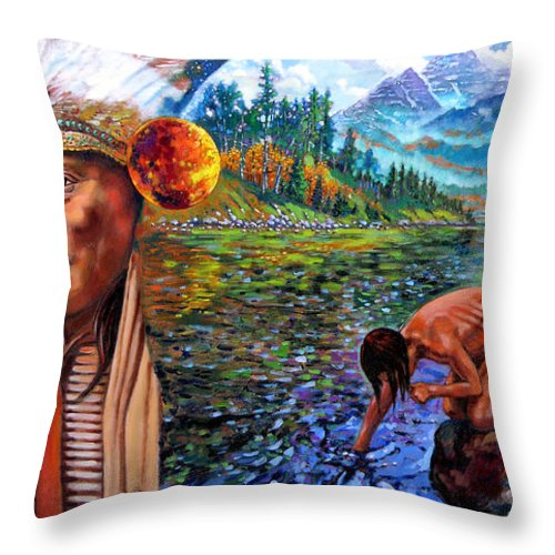 Indian Throw Pillow featuring the painting What Is Life by John Lautermilch