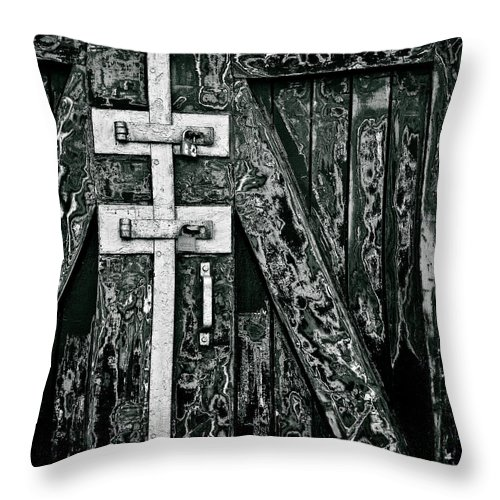 Old Door Throw Pillow featuring the photograph What Once Was Green... by Dave Bowman