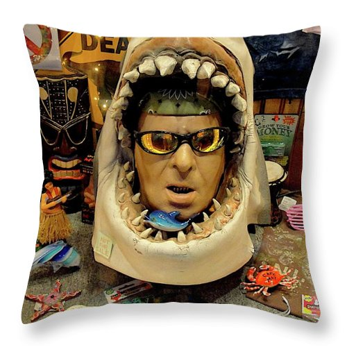 Store Front Throw Pillow featuring the photograph What The Heck by Jane Alexander