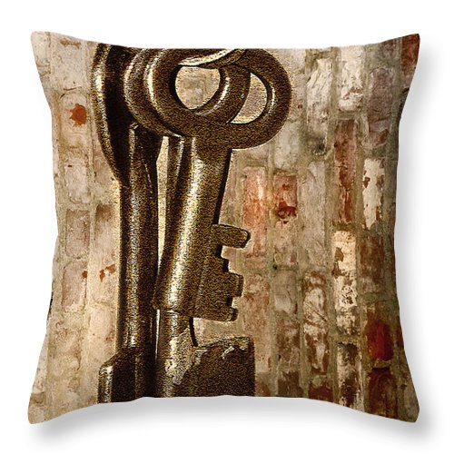 Antiques Throw Pillow featuring the photograph What They Unlock by Charuhas Images