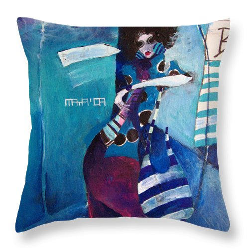 Modern Throw Pillow featuring the painting What Time Is It by Maya Manolova
