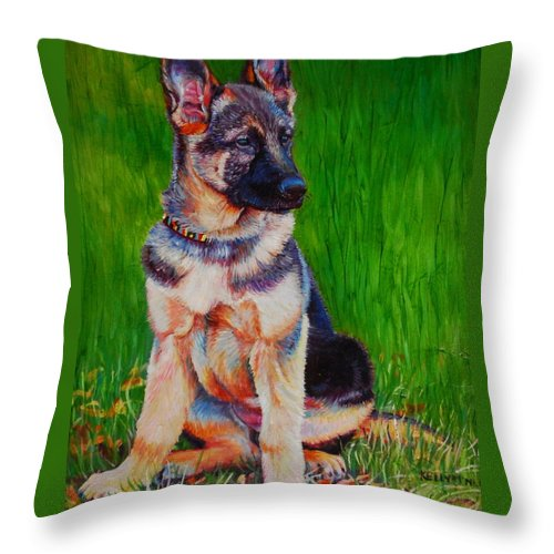 German Shepherd Throw Pillow featuring the painting What Waits For You In The Green Green Grass Of Home by Kelly McNeil