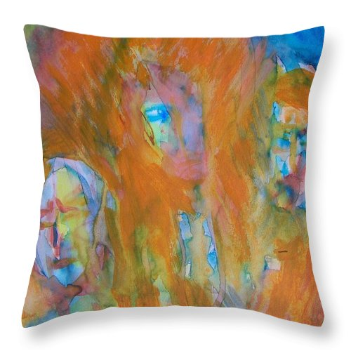 Abstract Throw Pillow featuring the painting What We Try To Hide by Judith Redman