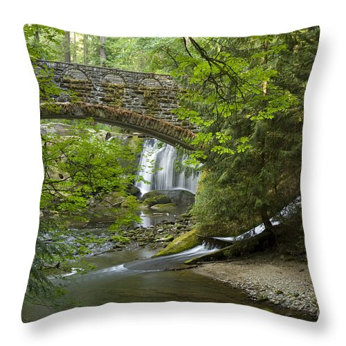 Bridge Throw Pillow featuring the photograph Whatcom Falls Bridge by Idaho Scenic Images Linda Lantzy