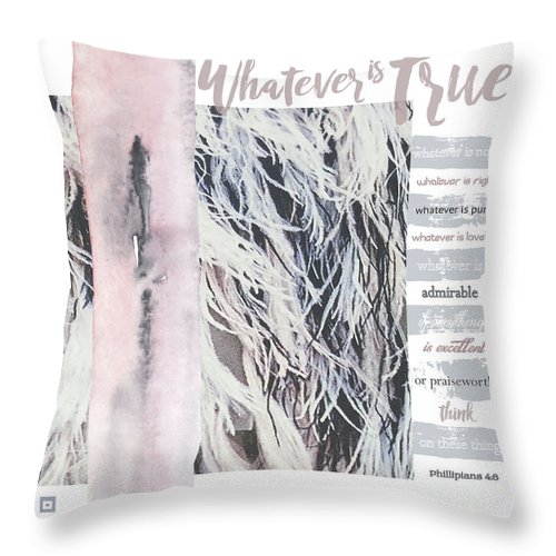 Phillipians 4:8 Throw Pillow featuring the digital art Whatever Pink Feathers by Claire Tingen