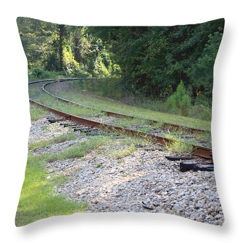 Railroad Throw Pillow featuring the photograph Whats Around The Bend by Suzanne Gaff