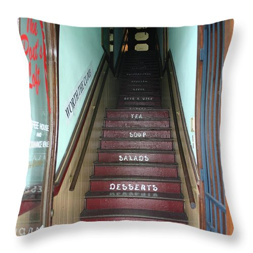 Food Throw Pillow featuring the photograph What's Upstairs by Nina Fosdick