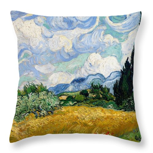 Vincent Van Gogh Throw Pillow featuring the painting Wheatfield With Cypresses by Van Gogh