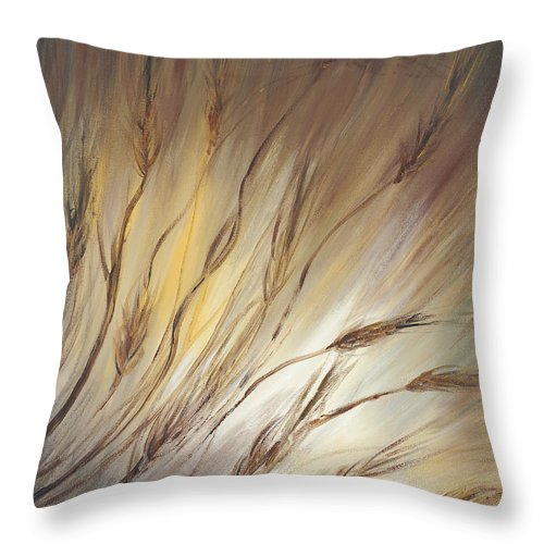 Wheat Throw Pillow featuring the painting Wheat In The Wind by Nadine Rippelmeyer