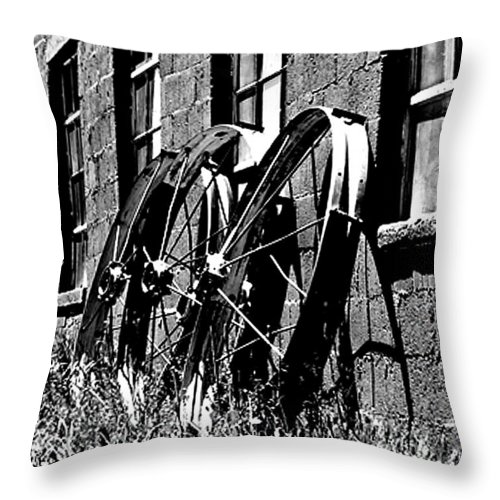 Black And White Throw Pillow featuring the photograph Wheels From The Past by David Kehrli