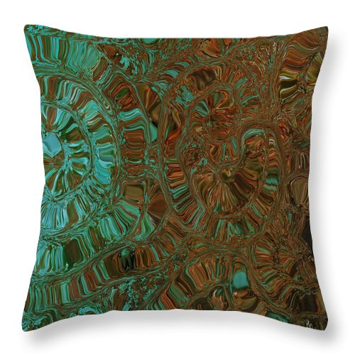Abstract Art Throw Pillow featuring the digital art Wheels Of Time by Bonnie Bruno