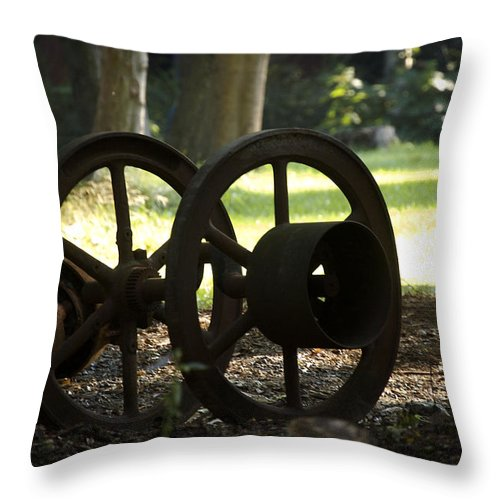 Wheel Throw Pillow featuring the photograph Wheels of War-Spanish American War Artifacts by Faith Harron Boudreau