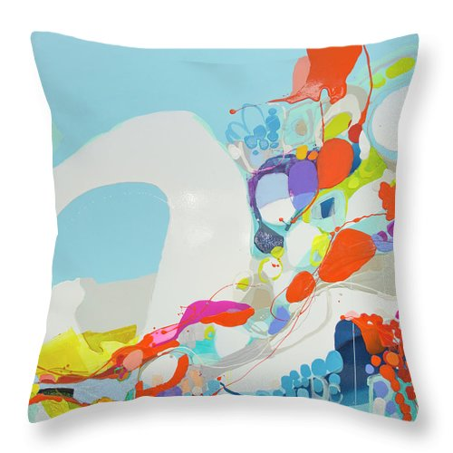 Abstract Throw Pillow featuring the painting When Alexa Moved In by Claire Desjardins