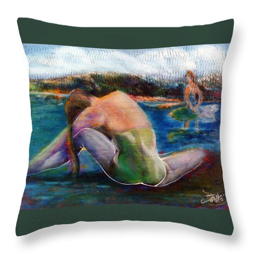 Woman Throw Pillow featuring the painting When Dreams Return by Dennis Tawes