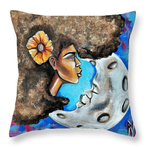 Throw Pillow featuring the painting When He Gave You The Moon by Artist RiA