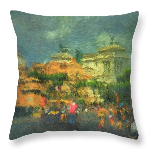 Throw Pillow featuring the digital art When In Rome 52 - Lasting Impression by Leigh Kemp