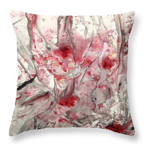Abstract Black Darkestartist It Painting Pops Red Watercolor When Darkest Artist Throw Pillow featuring the painting When It Pops by Darkest Artist