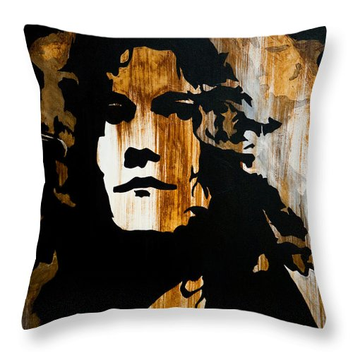 Robert Plant Throw Pillow featuring the painting When Movin Through Kashmir by Brad Jensen