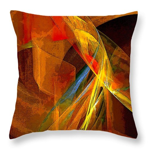 Abstract Throw Pillow featuring the digital art When Paths Cross by Ruth Palmer